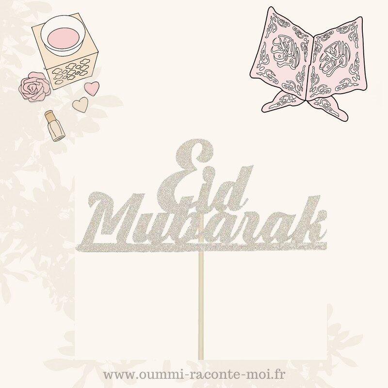 Cake Topper Eid Mubarak – Coloris aux choix